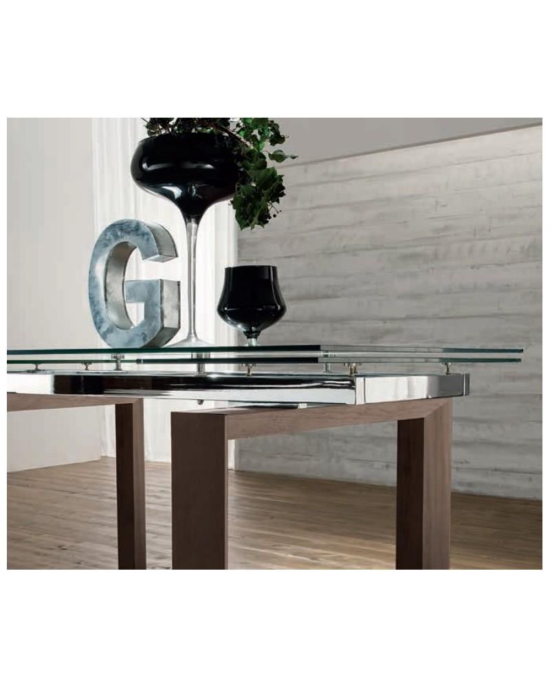 Guide Per Tavolo Allungabile.Tavolo Allungabile Glass Con Guide In Alluminio